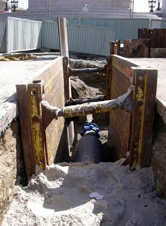 blindage sur chantier de renouvellement de canalisations sobebo
