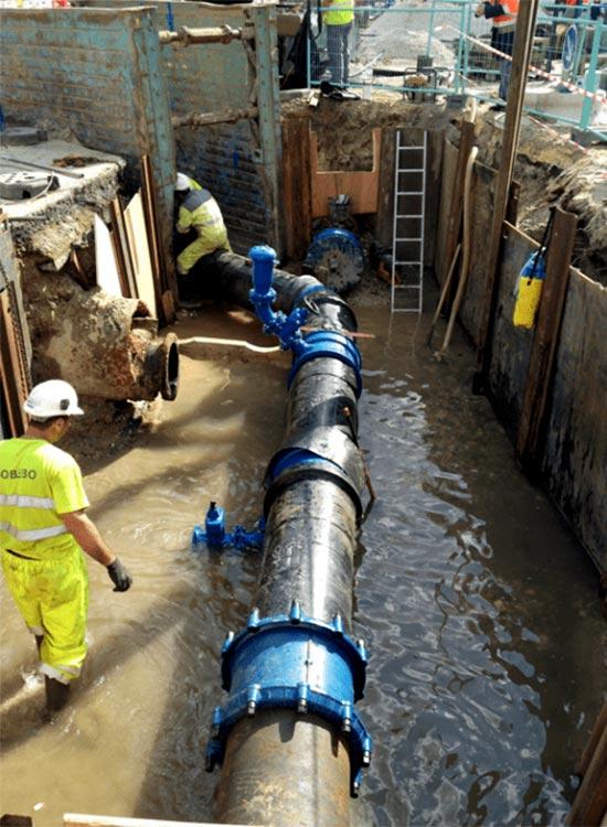 dévoiement des réseaux d'eau potable et raccordement à Bordeaux par Sobebo